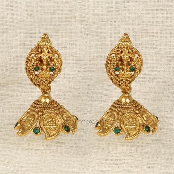 Emerald Green Jhumka Gold Polish Laxmi Earrings