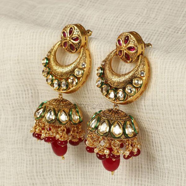 Ruby Kundan Long Jhumka Earrings For Women