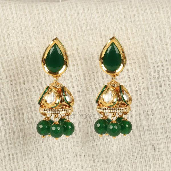 Emerald green Small Light Simple Jhumka Earrings
