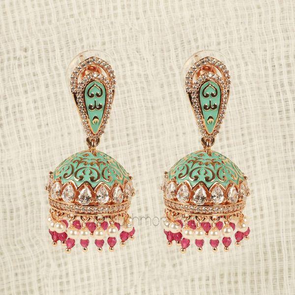 Classic Gold Tone Kundan Jhumka Earrings