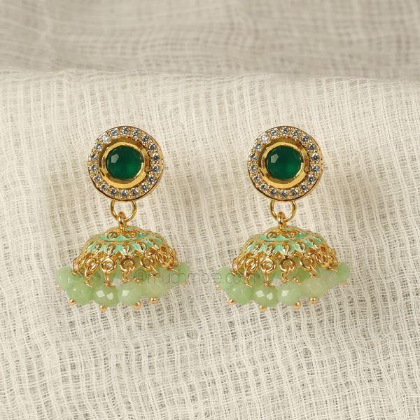 Mint Green Meenakari Small Earrings