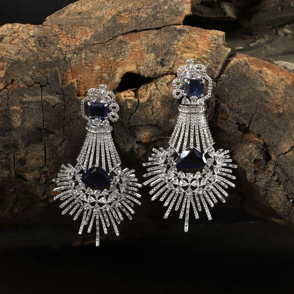 Diamond Zircon Sapphire Earring