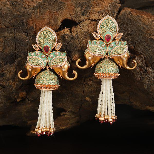 Kundan Mint Ruby Earring