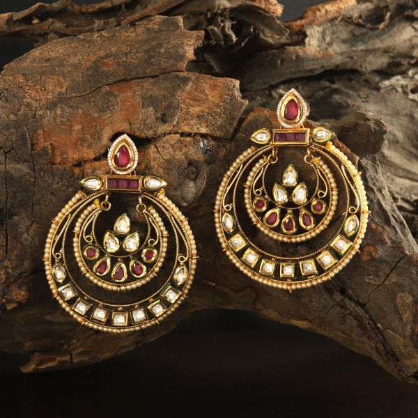 Kundan Ruby Earring
