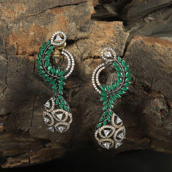 Diamond zircon earring
