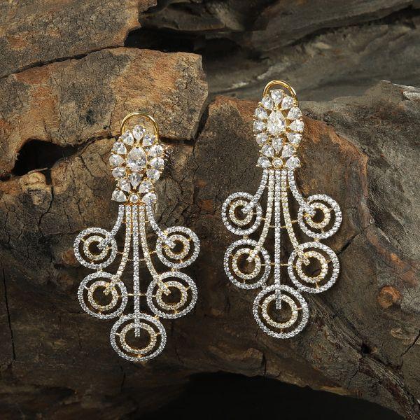 Gold Polish Diamond Earrings
