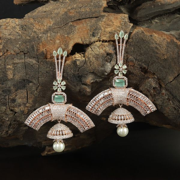 Mint And Rose Gold Earring