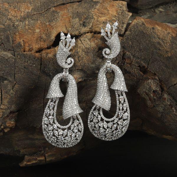 Zircon Diamond Silver Earring