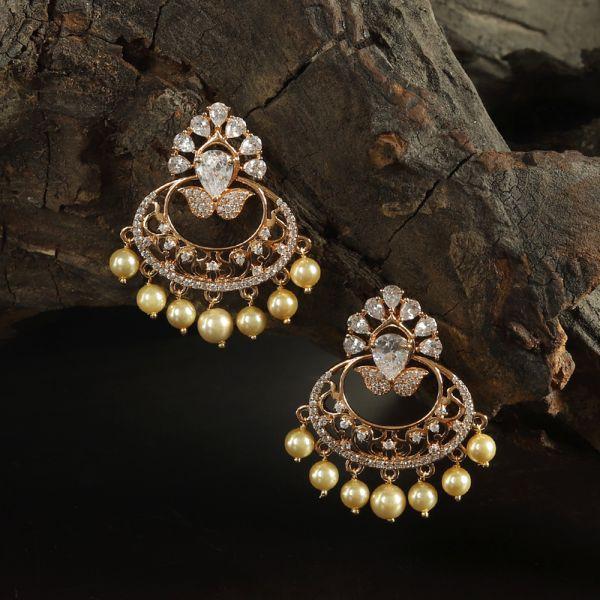 Chandbali With Pearl Droppings