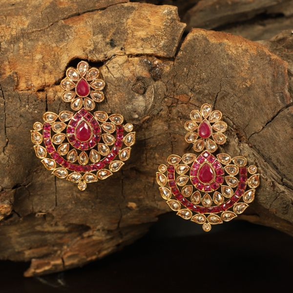 Antique Polki Ruby Earring
