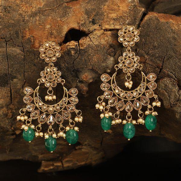 Antique Polki Green Earring