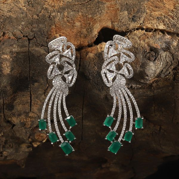 Diamond Zircon Emerald Earring