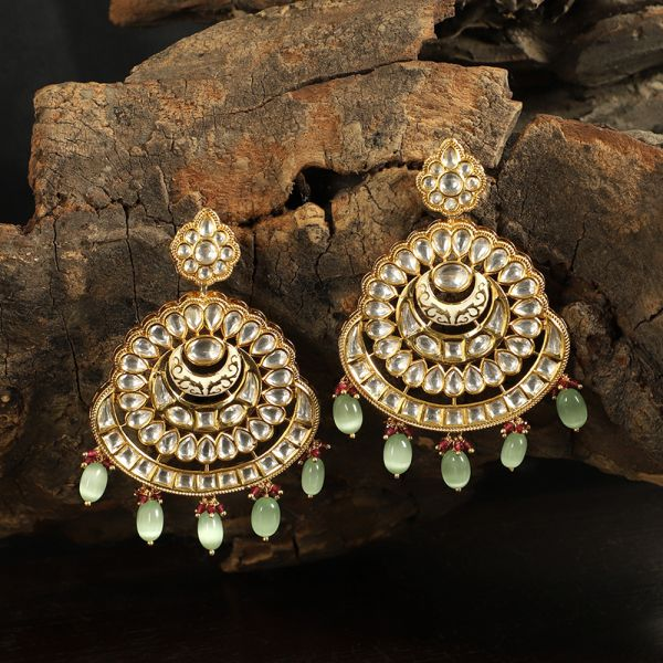 Green Classic Drop Kundan Earrings