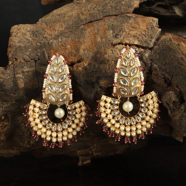 Hanging Chandbali Kundan Earrings