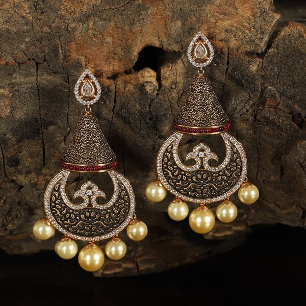 Original Meena Handwork Pearl Indian Earring