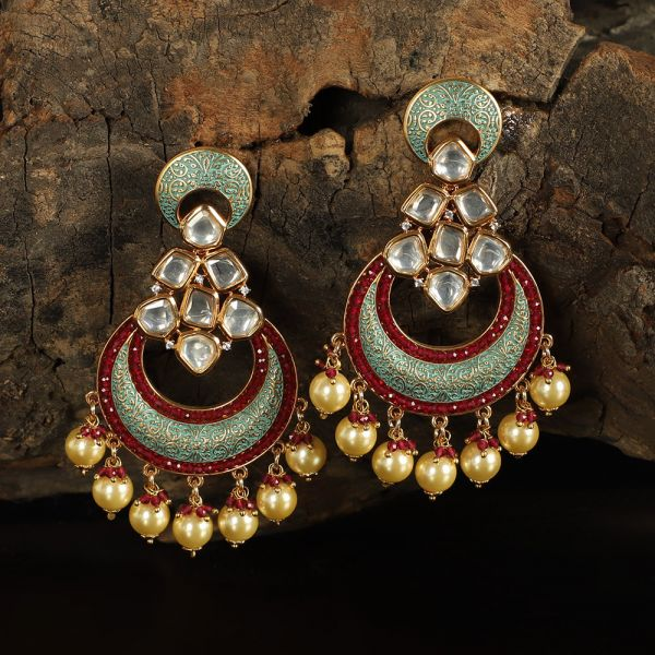 Red-Green Meenakari Chandbali