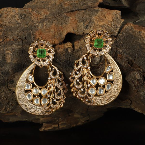 Green & White Meena Kundan Earring