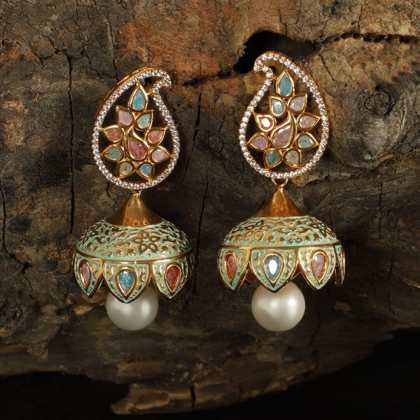 Navratna Kundan Jhumka Earrings For Women