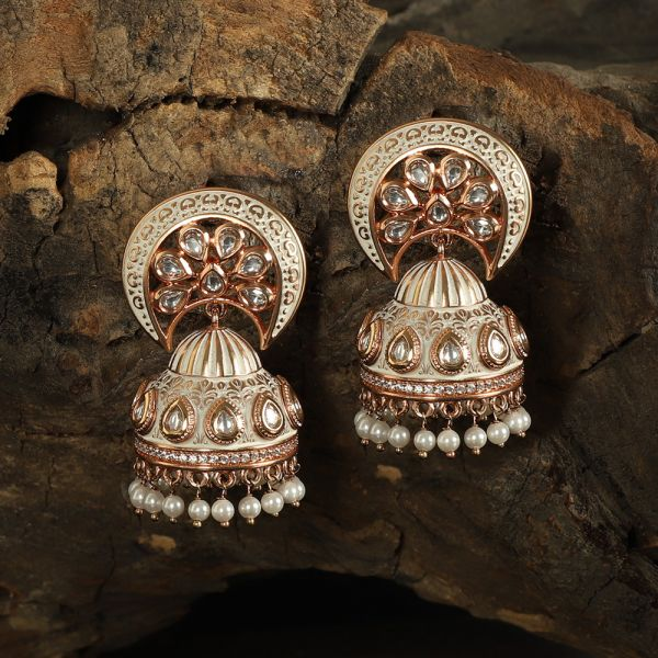 White Meena Small Jhumka With Pearl Dropping
