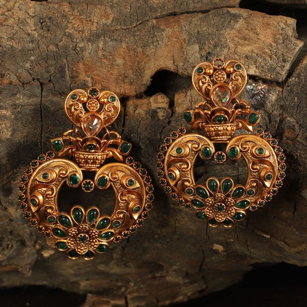 Green Stone Studded Gold Tone Antique Earring