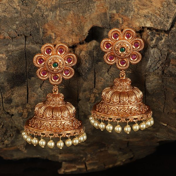 Pearl And Floral Jhumka Earrings