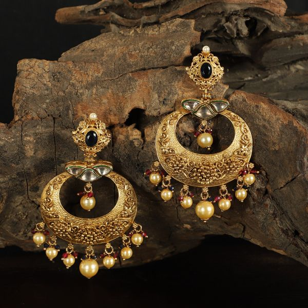 Gold Tone Polki Chandbali Earring