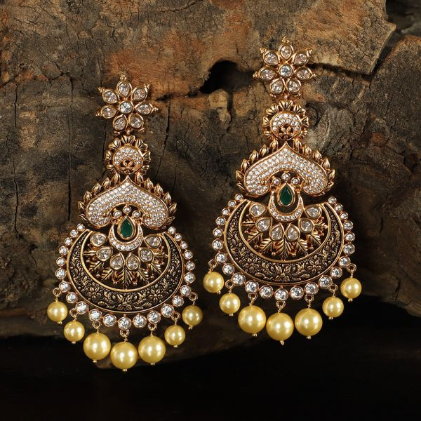 Black Meena Long Kundan Earring