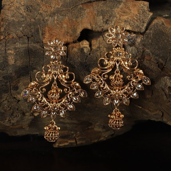 Dull Finished Heavy Antique Work Traditional Earring