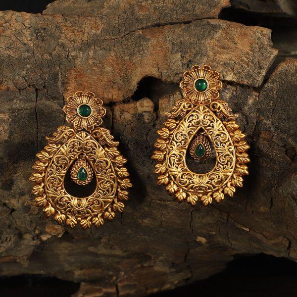 Gold Polish Green Dangler Earrings