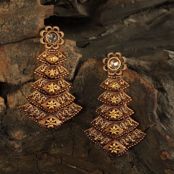 Stunning Gold Polish Antique Earrings