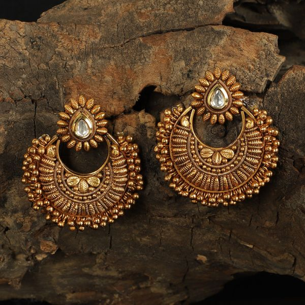 Designer Antique Gold Chand Bali Earrings