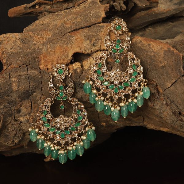 Traditional Antique Emerald Big Gold Jhumka