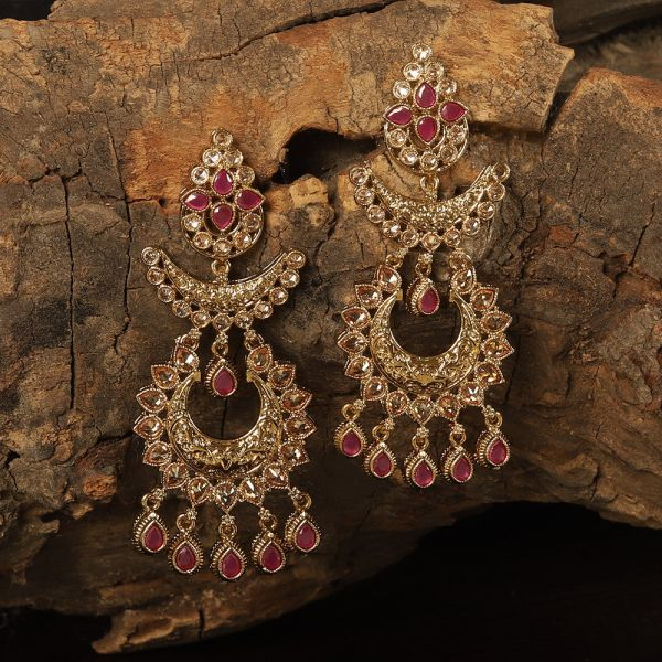 Ruby Pink Antique Chandbali