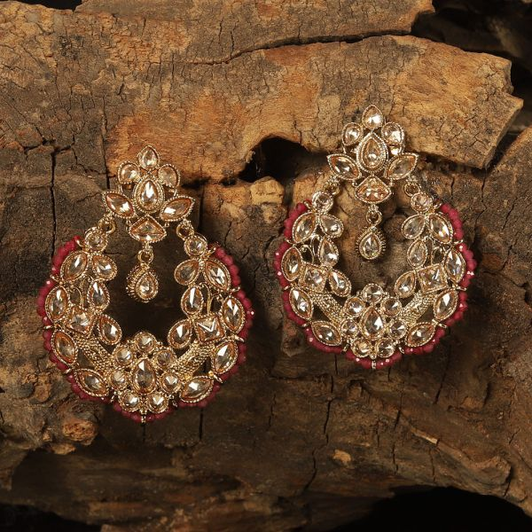 Classic Red Beaded Antique Earring