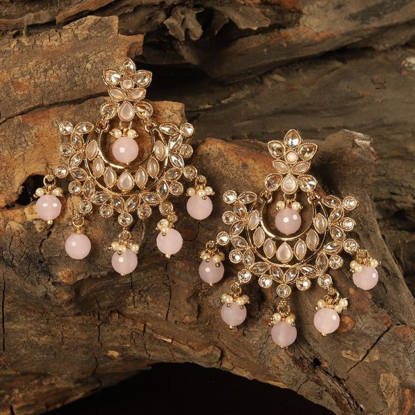 Baby Pink Antique Chandbali