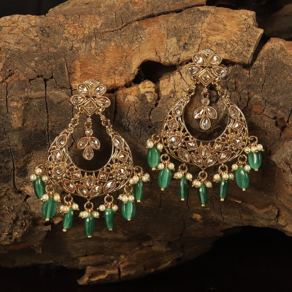 Green Dropping Chandbali Style Earring