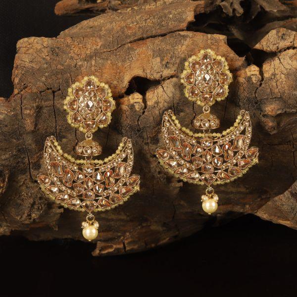 Yellow Beaded Chandbali Style Earring