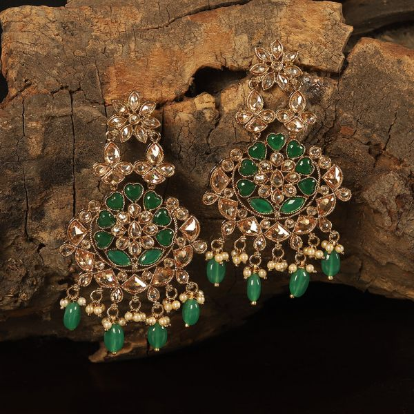 Green Heart Antique Earring
