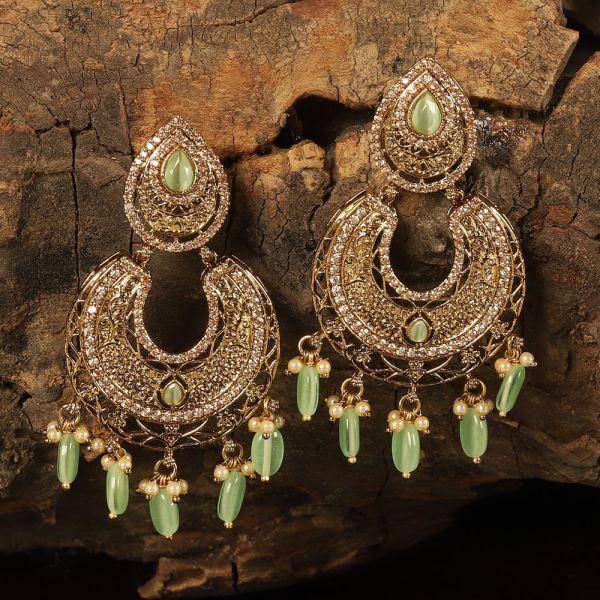 Trendy Green Chand Bali Earrings
