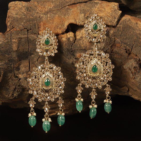 Beautiful Antique Gold Polish Green Earring