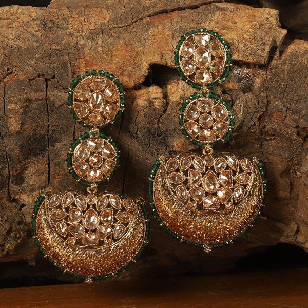 Green Beaded Chandbali Earring For Women