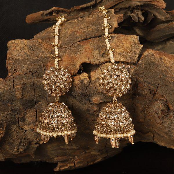 Beads Hanging Traditional Kaan Chain Jhumka