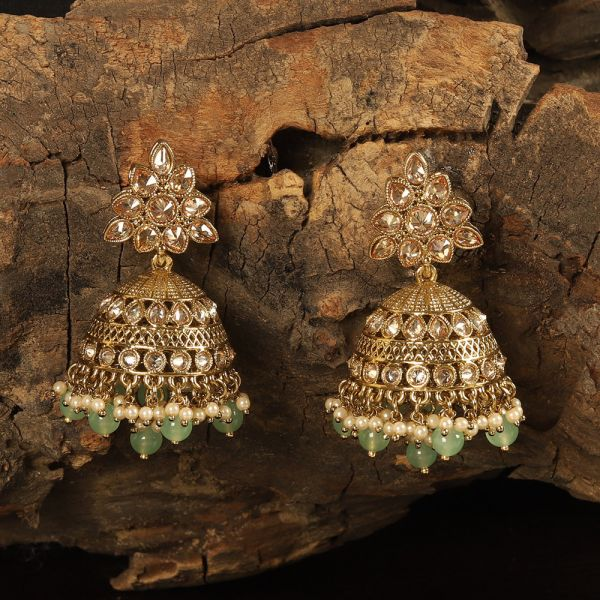 Traditional Antique Gold Plated Green Jhumkies