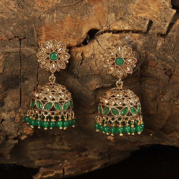 Stunning Green Antique Jhumkie Earrings