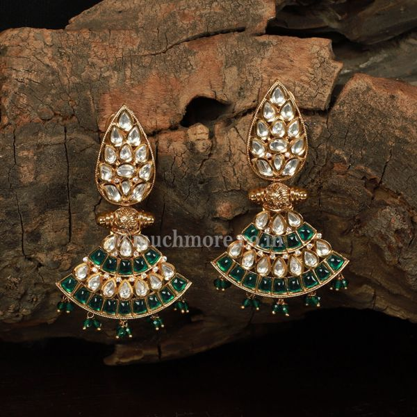 Dark Green Kundan Hanging Earrings