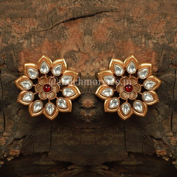 Floral Kundan Tops Style Earrings