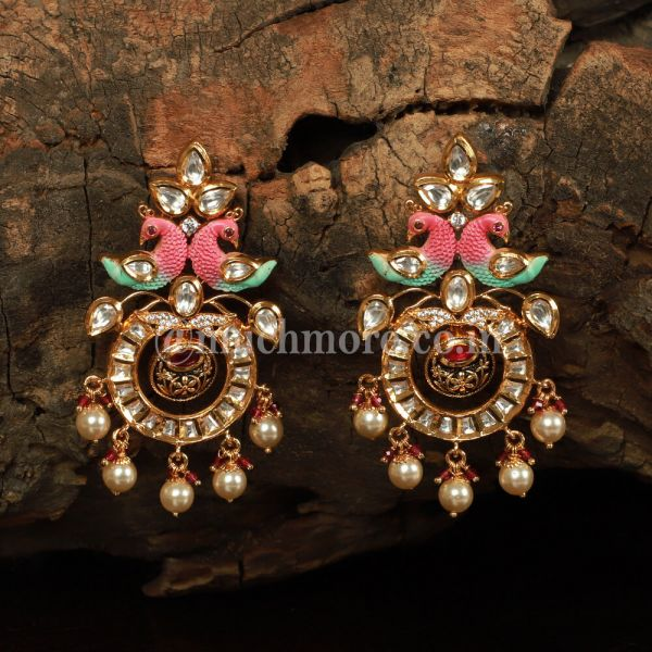Kundan Chandbali Peacock Earrings