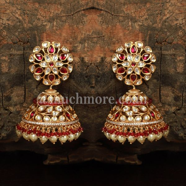 Ruby Kundan Big Jhumka Earring