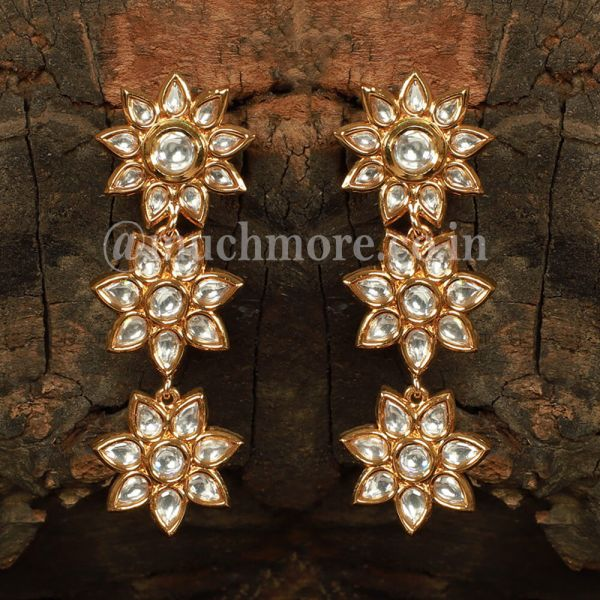 Gold Plated Kundan Studded Floral Earrings
