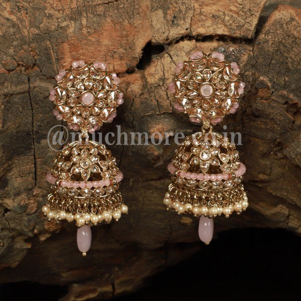 Baby Pink Flower Traditional Style Earring Jhumka